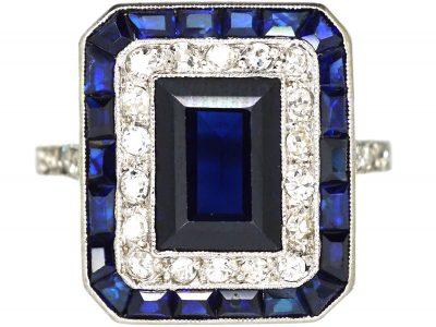 French Art Deco Platinum, Sapphire & Diamond Rectangular Ring with Diamond Set Shoulders