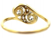 Art Nouveau 18ct Gold & Platinum, Two Stone Diamond Crossover Ring with Rose Diamond Detail