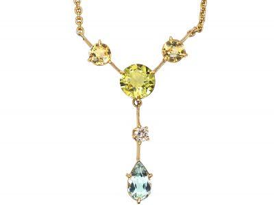 Art Deco 18ct Gold Aquamarine, Peridot, Diamond & Topaz Necklace