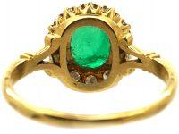 18ct Gold, Emerald & Diamond Cluster Ring