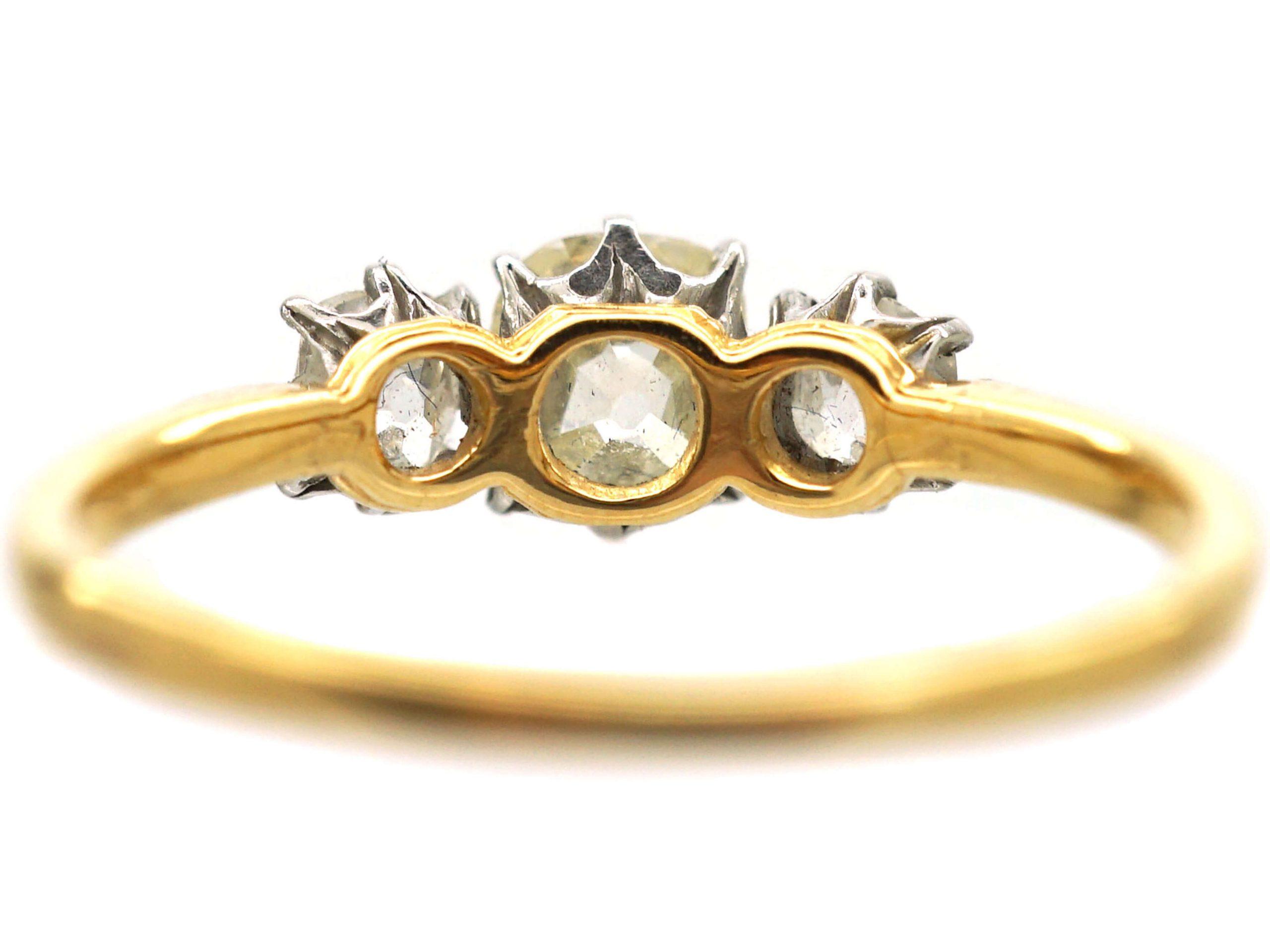 Edwardian 18ct Gold, Three Stone Old Mine Cut Diamond Ring