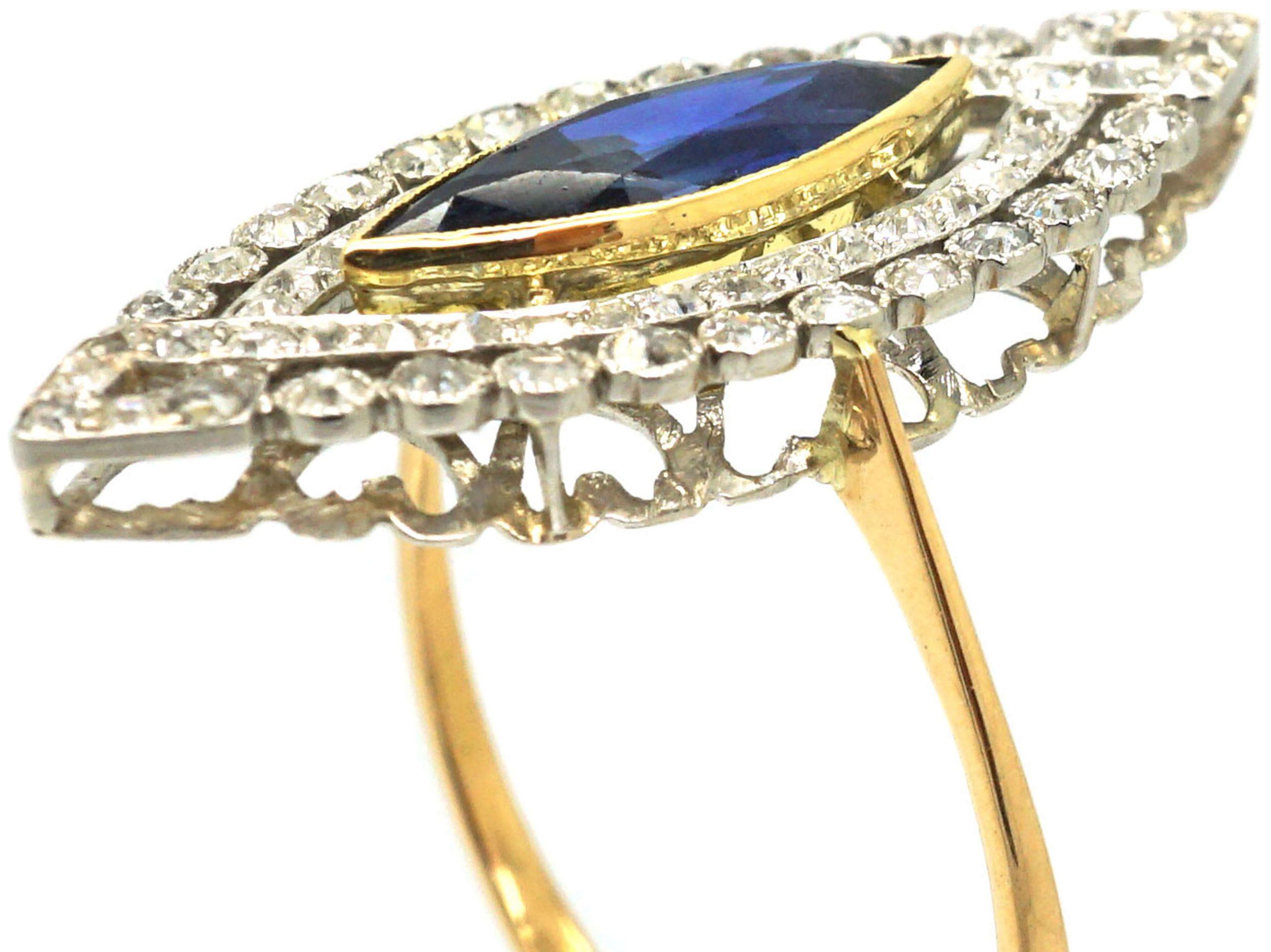 French Art Deco 18ct Gold & Platinum, Sapphire & Diamond Marquise Ring