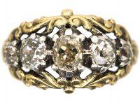 Georgian 15ct Gold & Silver, Cushion Cut Diamond Three Stone Ring