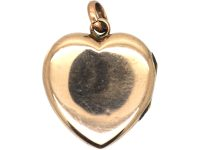 Edwardian 9ct Gold Back & Front Heart Shaped Locket with Cross Motif set with Paste