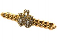 Edwardian 15ct Gold Brooch with Double Heart Motif set with Natural Split Pearls