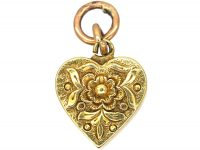 Georgian 18ct Gold Heart Shaped Pendant with Locket on Reverse