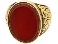 Victorian 18ct Gold Signet Ring set with Carnelian with Secret Hinged Locket