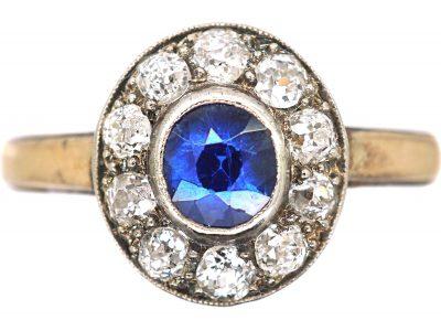 Art Deco 15ct Yellow & White Gold, Sapphire & Diamond Cluster Ring