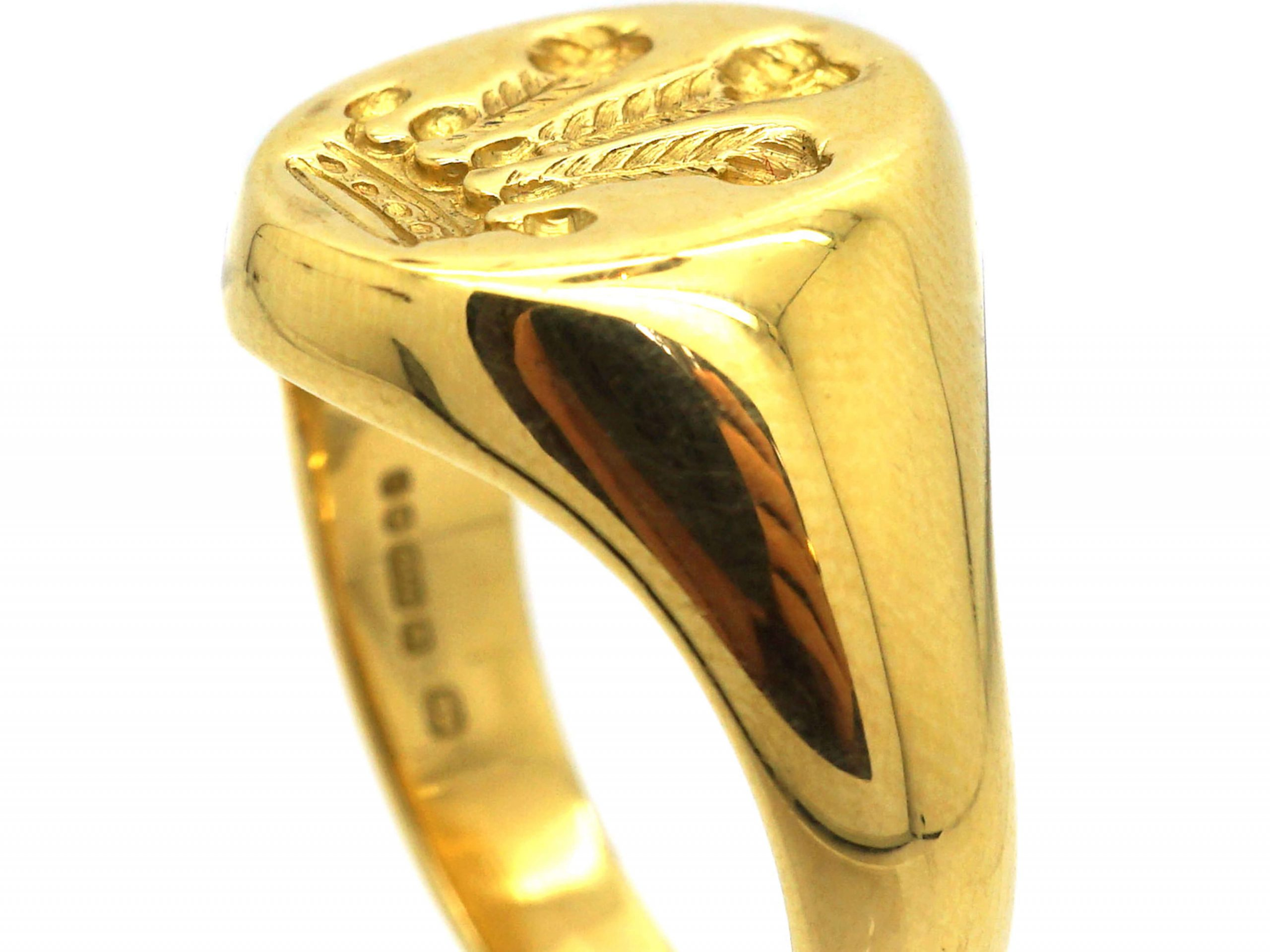 18ct Gold Signet Ring with Intaglio of Prince of Wales Feathers by Theo Fennell