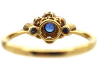 Edwardian 18ct Gold & Platinum, Sapphire & Diamond Cluster Ring with a Sapphire on Either Side