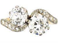 Edwardian 18ct Gold & Platinum Two Stone Diamond Cross Over Ring