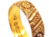 Victorian 9ct Gold Wedding Band with Incised Flower Decoration