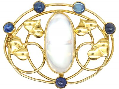 Art Nouveau 15ct Gold Brooch set with Cabochon Sapphires & Moonstone