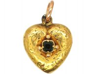 Georgian 15ct Gold Small Heart pendant set with an Emerald with Glazed Locket on the Reverse