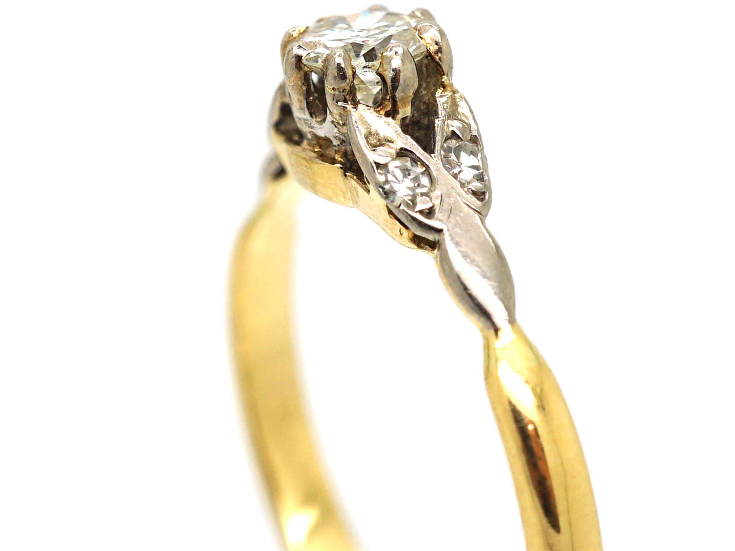 Art Deco Diamond Solitaire Ring with Diamond Set Leaf Shoulders