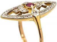 Art Nouveau 18ct Gold & Platinum, Rose Diamond & Ruby Marquise Ring