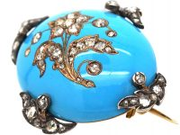 Victorian 15ct Gold, Turquoise Enamel Brooch with Rose Diamond Set Forget me Not Flower