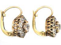 Edwardian 18ct Gold & Diamond Cluster Earrings