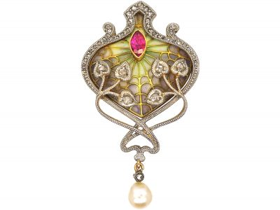 French Art Nouveau Plique a Jour 18ct Gold Brooch/ Pendant set with Diamonds, Rubies & a Natural Pearl
