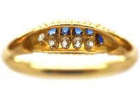 Victorian 18ct Gold Ring Set With Five Sapphires & Five Diamonds