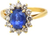 18ct Gold, Sapphire & Diamond Cluster Ring with Petal Design