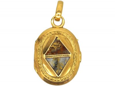 American 19th Century Gold Rush  18ct Gold Oval Locket set with Gold in Quartz