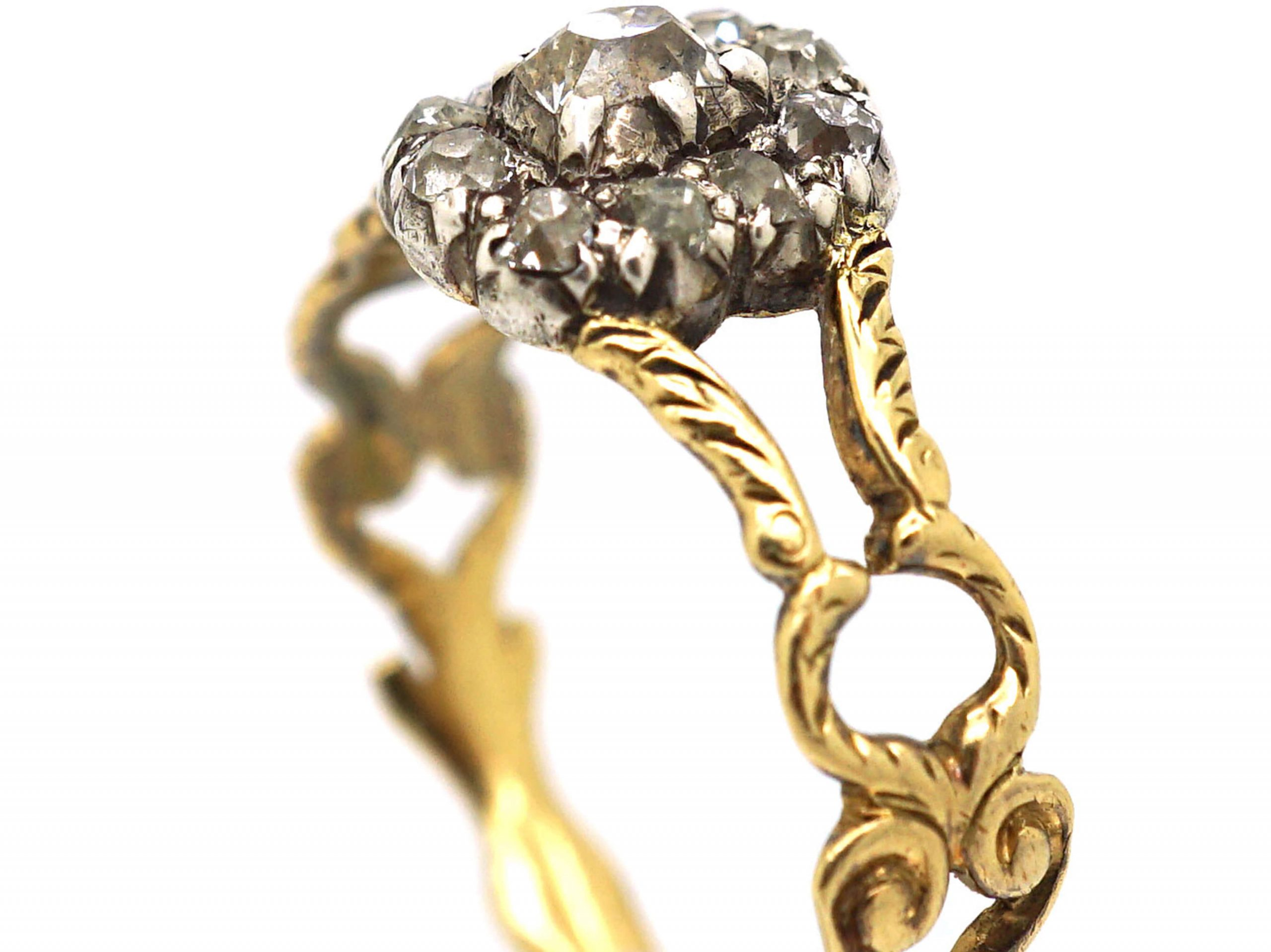 Georgian 15ct Gold & Old Mine Cut Diamond Cluster Ring