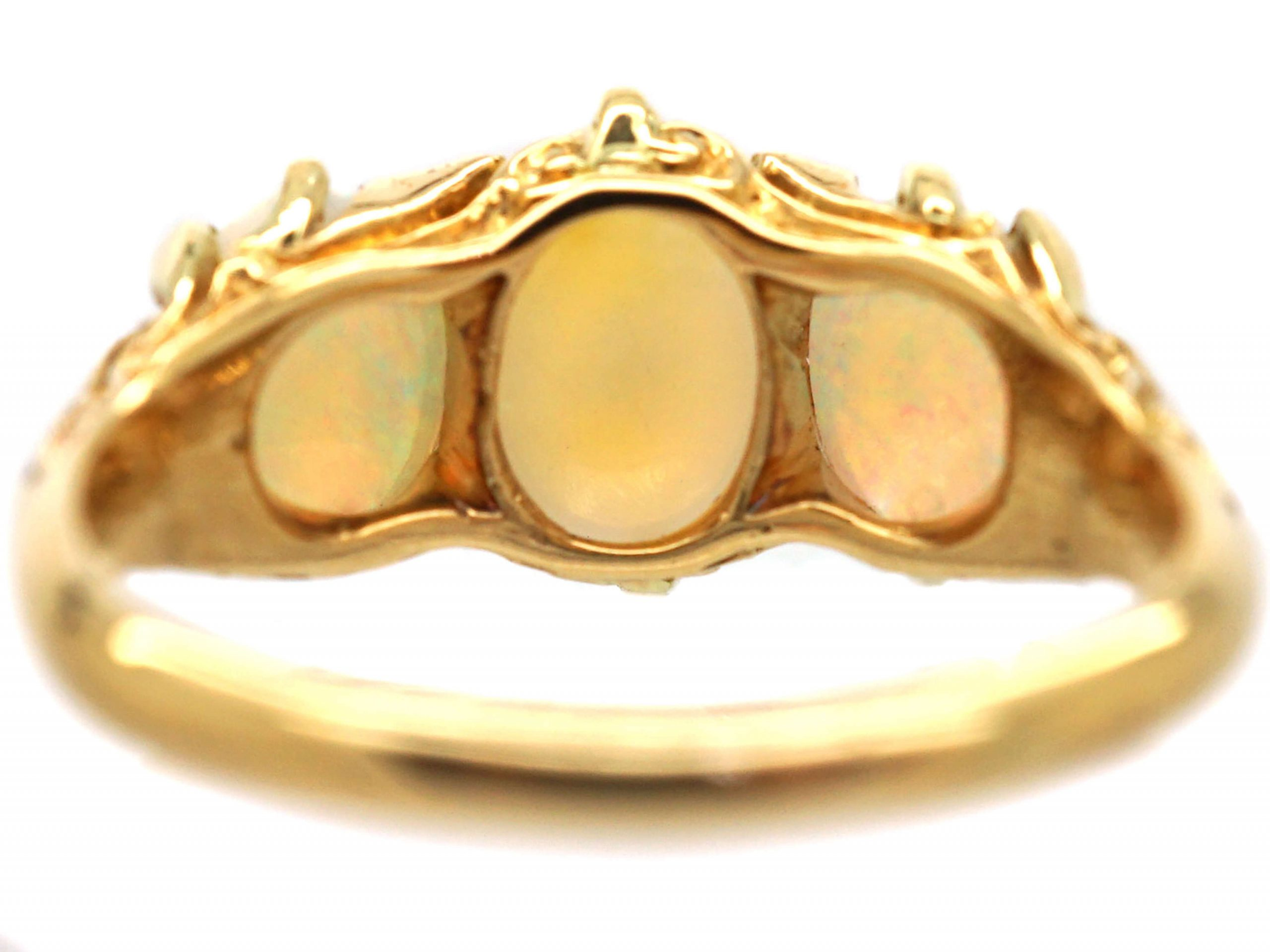 Edwardian 18ct Gold, Three Stone Opal Ring with Rose Diamond Points