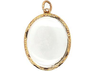 Edwardian 9ct Gold Glazed Open Locket