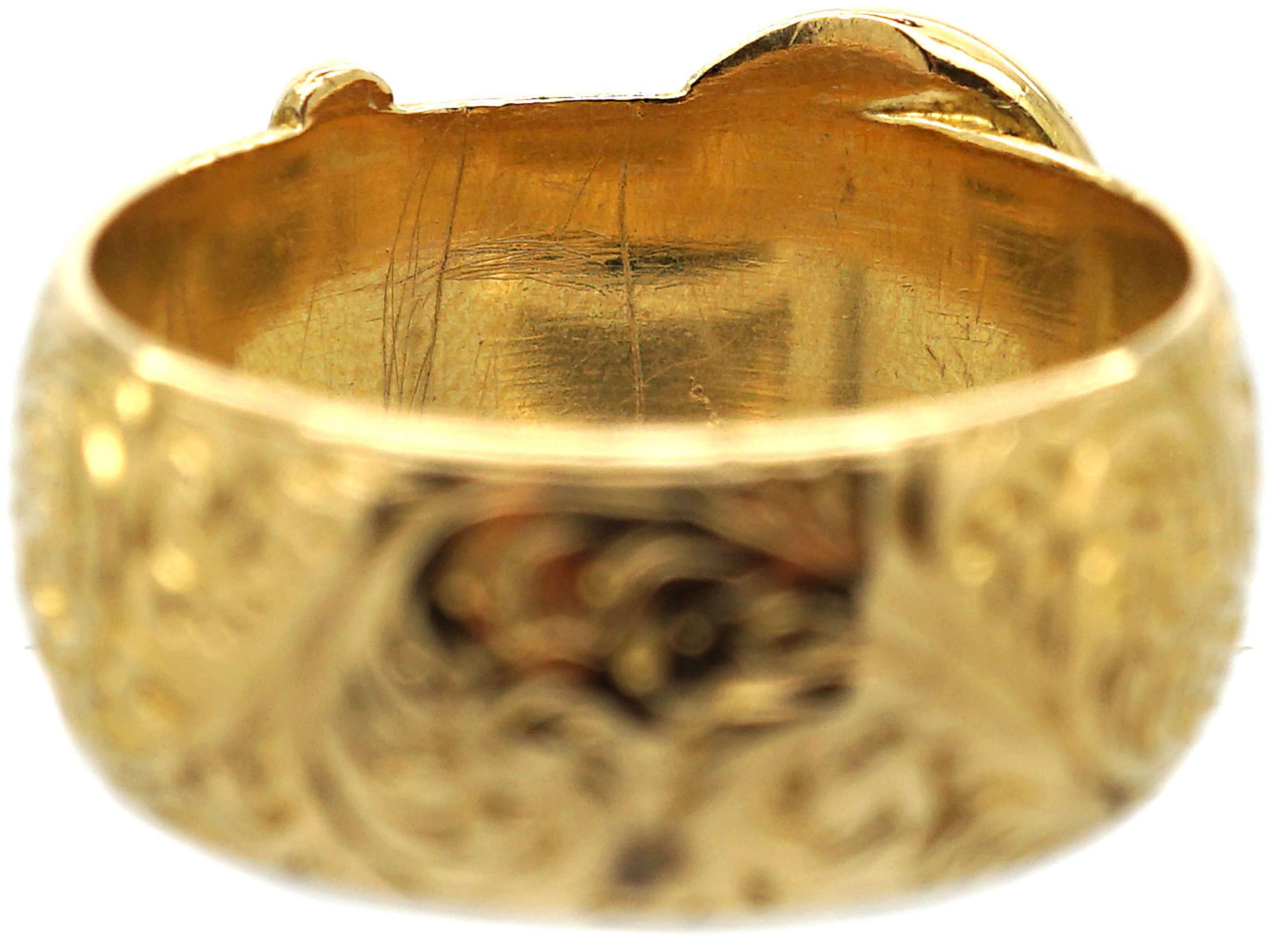 Edwardian 18ct Gold Buckle Ring with Fine Engraving Throughout