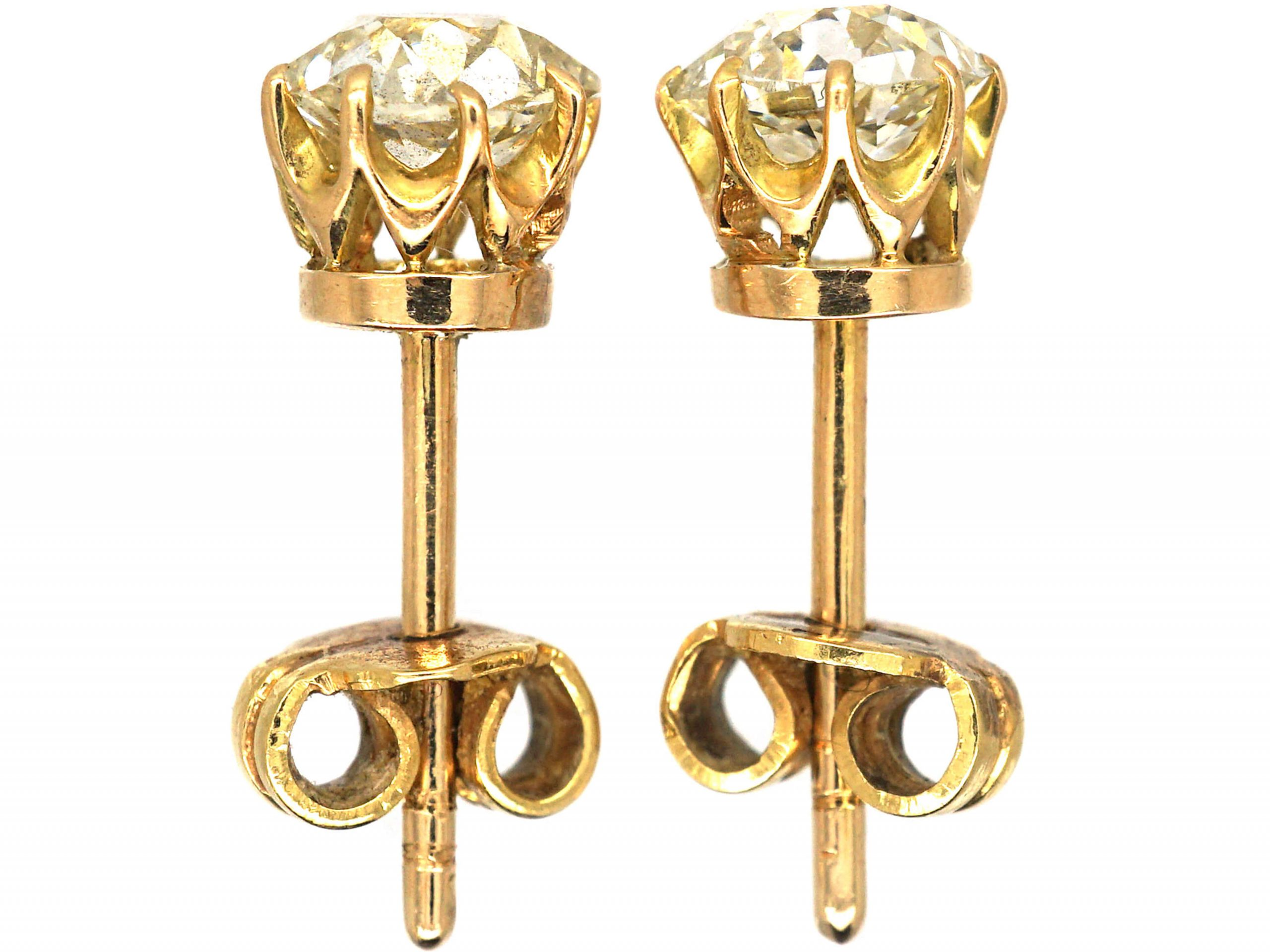 18ct Gold Old Mine Cut Solitaire Earrings