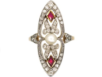 Art Deco 18ct Gold & Platinum, Diamond, Ruby & Natural Pearl Marquise Ring
