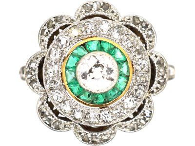 Art Deco 18ct Gold and Platinum, Emerald and Diamond Target Ring with Scalloped Surround