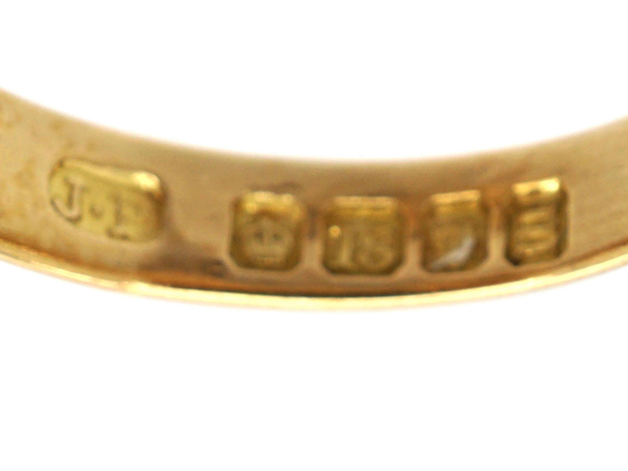 Edwardian 18ct Gold Knot Ring set with Three Diamonds