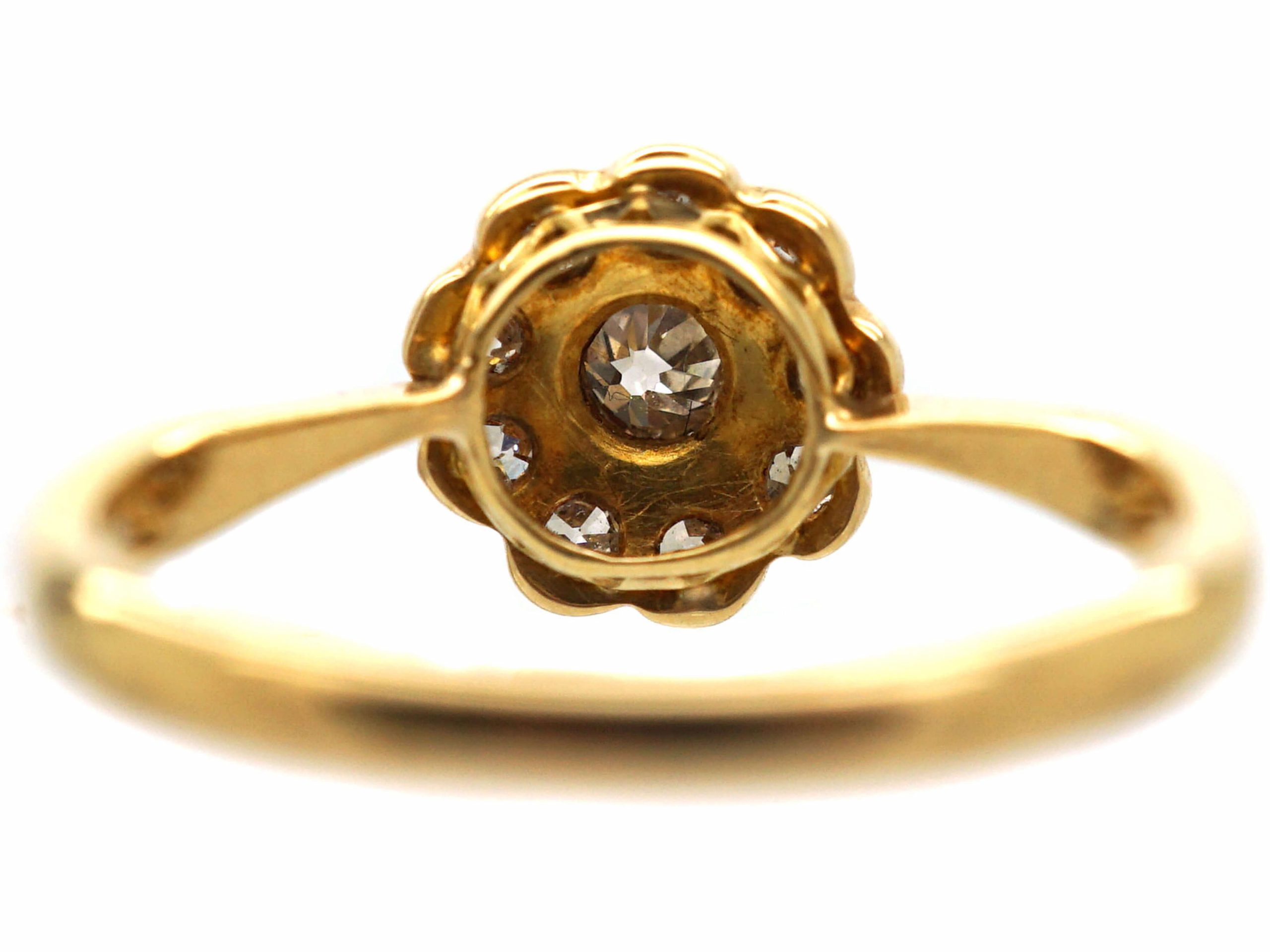 Edwardian 18ct Gold & Diamond Daisy Cluster Ring