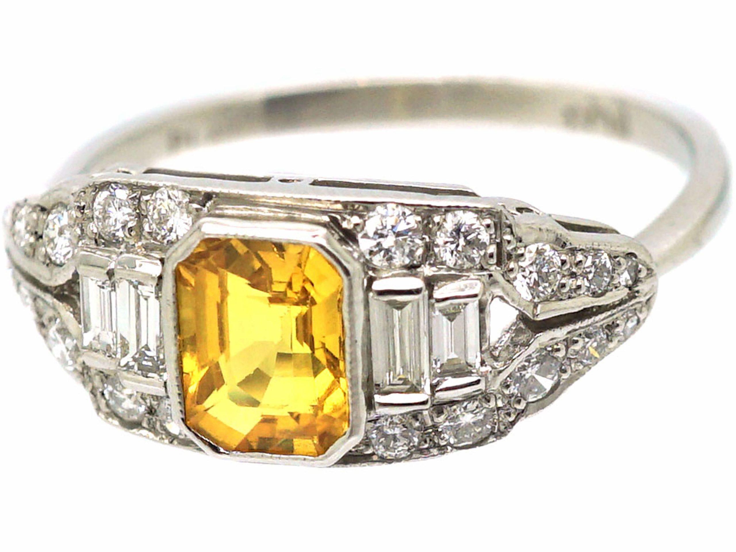 Art Deco Platinum, Yellow Sapphire & Diamond Ring