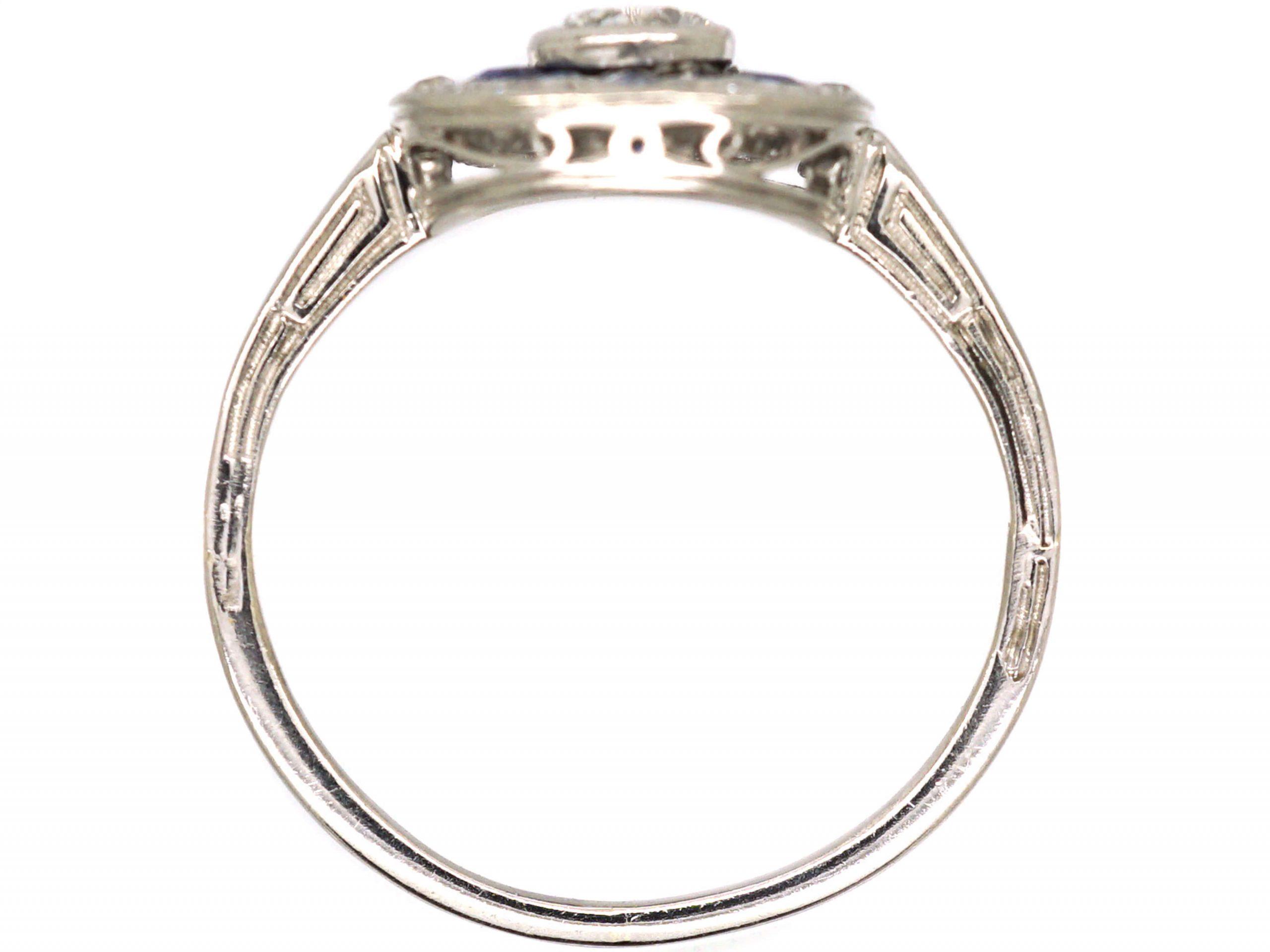 Art Deco Platinum, Diamond & Sapphire Target Ring