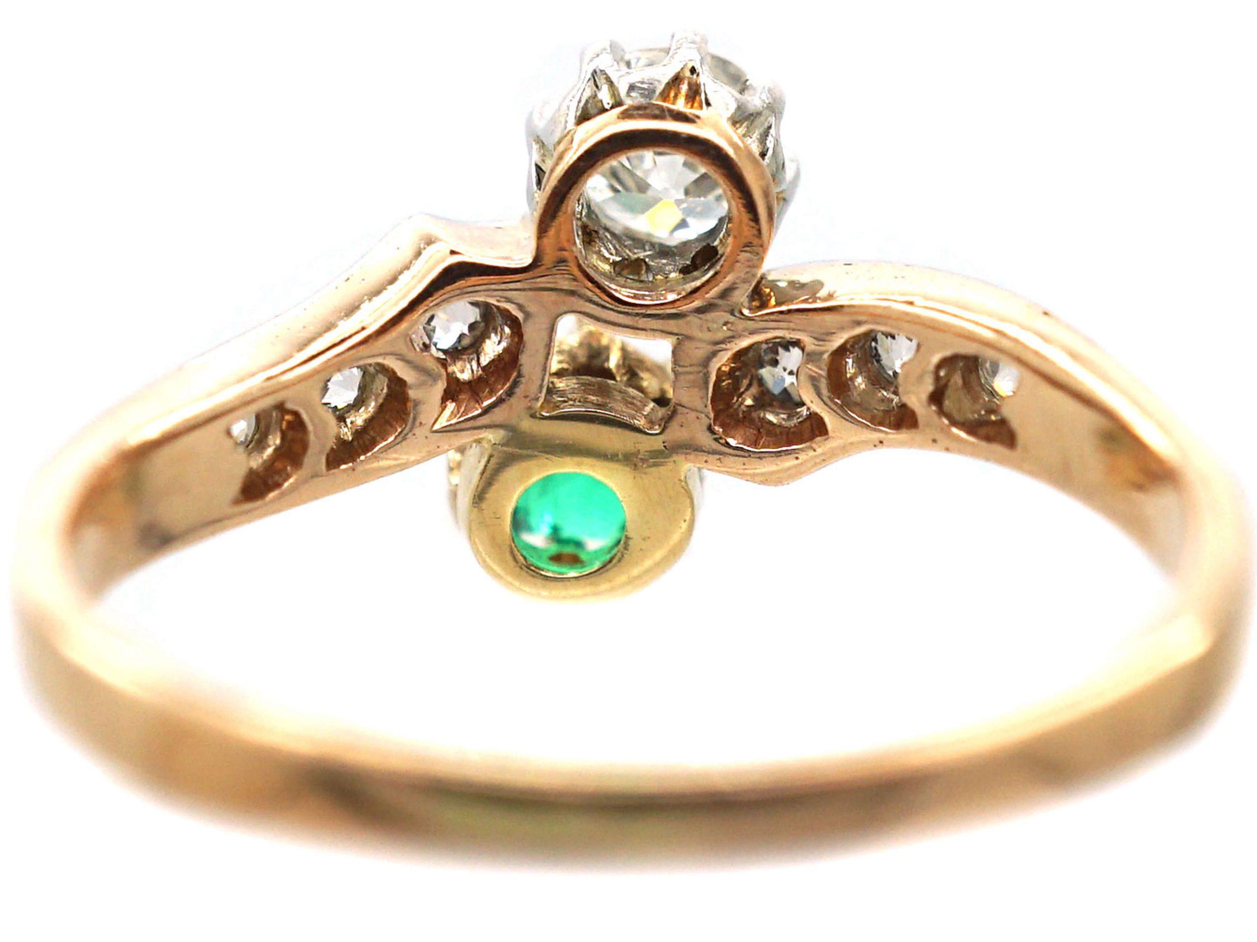 Edwardian 18ct Gold & Platinum, Emerald & Diamond Crossover Ring