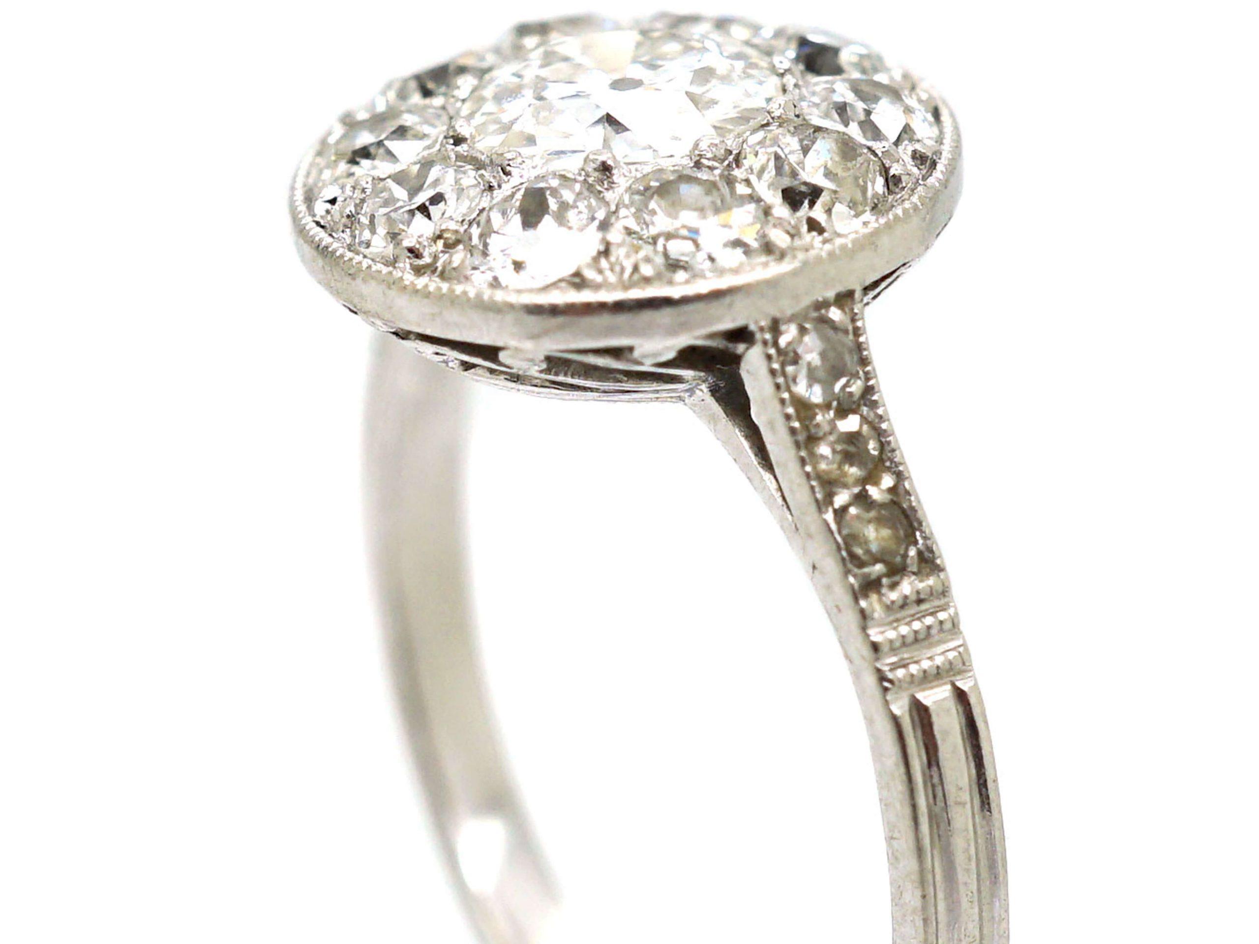 Art Deco Platinum, Diamond Cluster Ring with Diamond Shoulders