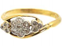 Edwardian 18ct Gold & Platinum, Cluster Diamond Ring with Diamond Set Trefoil Detail