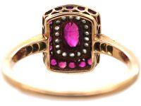Art Deco 14ct Gold & Platinum, Ruby & Rose Diamond Rectangular Shaped Ring with Diamond Set Shoulders