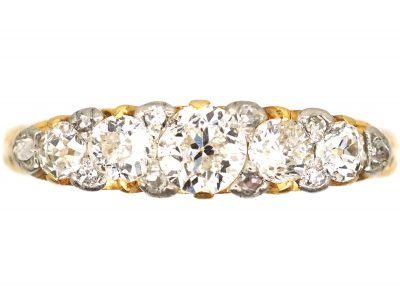 Edwardian 18ct Gold Five Stone Diamond Carved Half Hoop Ring with Diamond Points