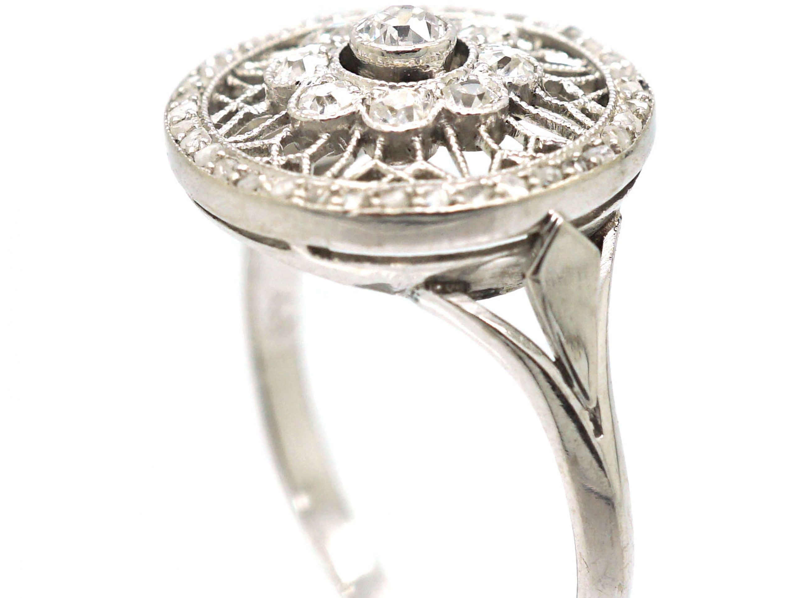 Edwardian Platinum & Diamond Cluster Ring with Openwork Detail and a Rose Diamond Border