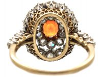 Edwardian 18ct Gold, Orange Sapphire and Diamond Cluster Ring with Diamond Set Shoulders