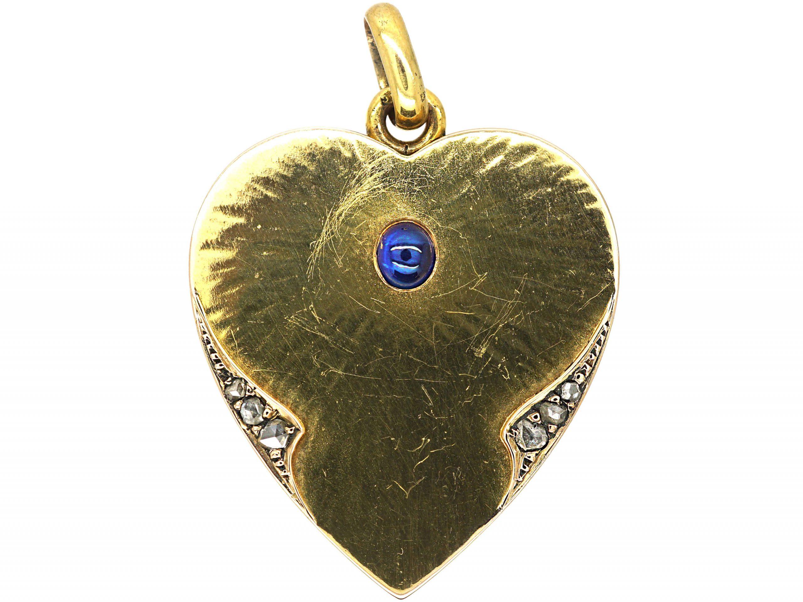 Art Deco 14ct Gold Heart Locket set with A Cabochon Sapphire & Rose Diamonds