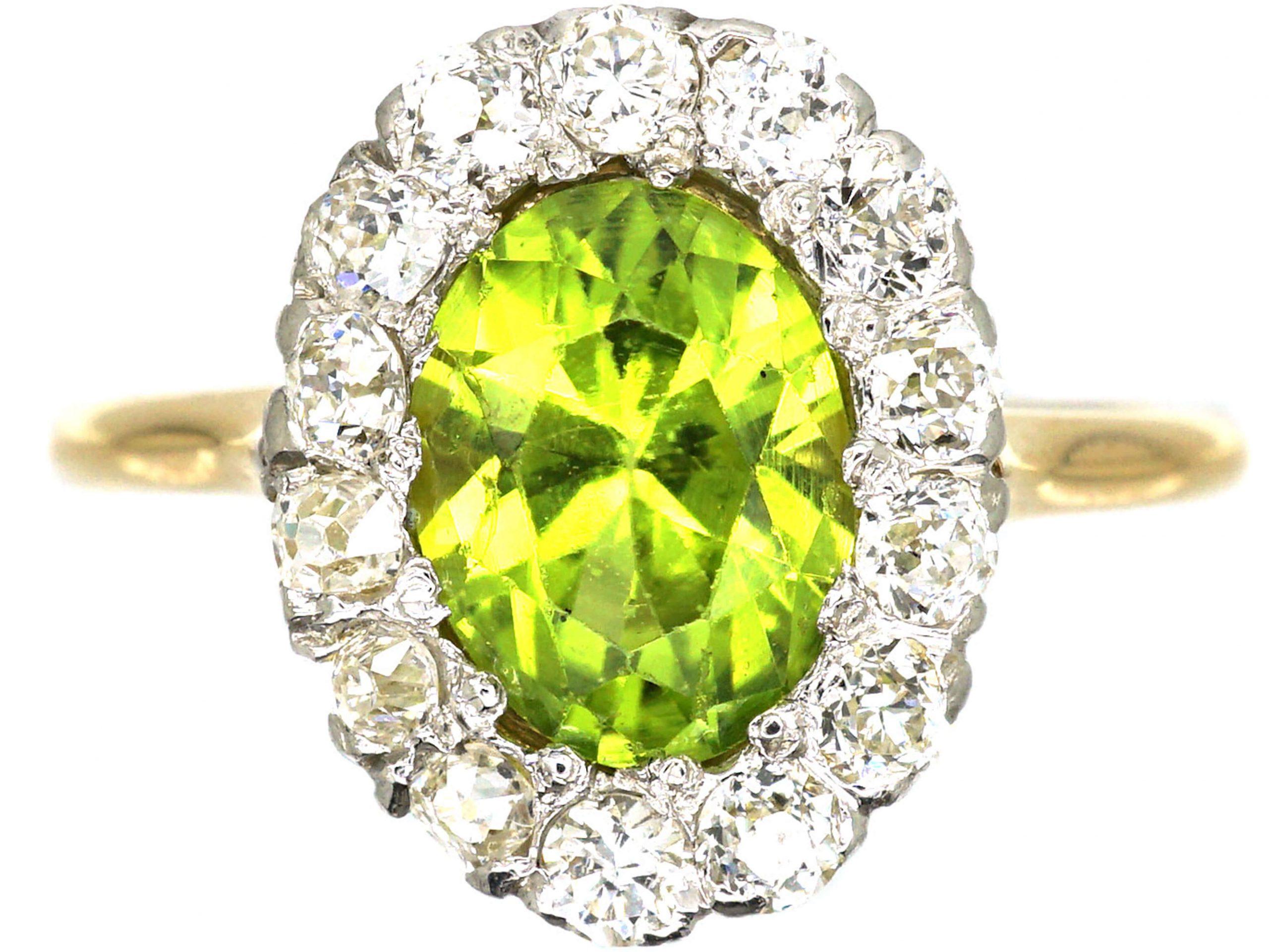18ct Gold, Peridot & Diamond Oval Cluster Ring