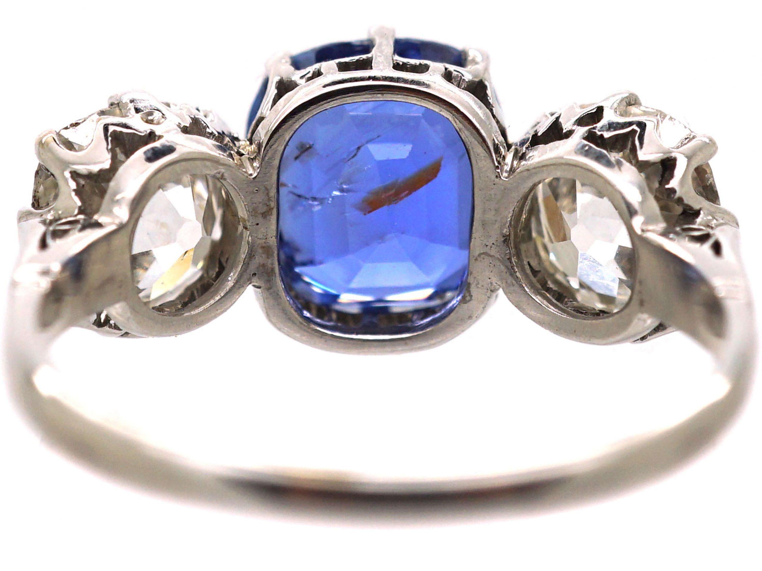 Art Deco Platinum, Large Sapphire & Diamond Three Stone Ring
