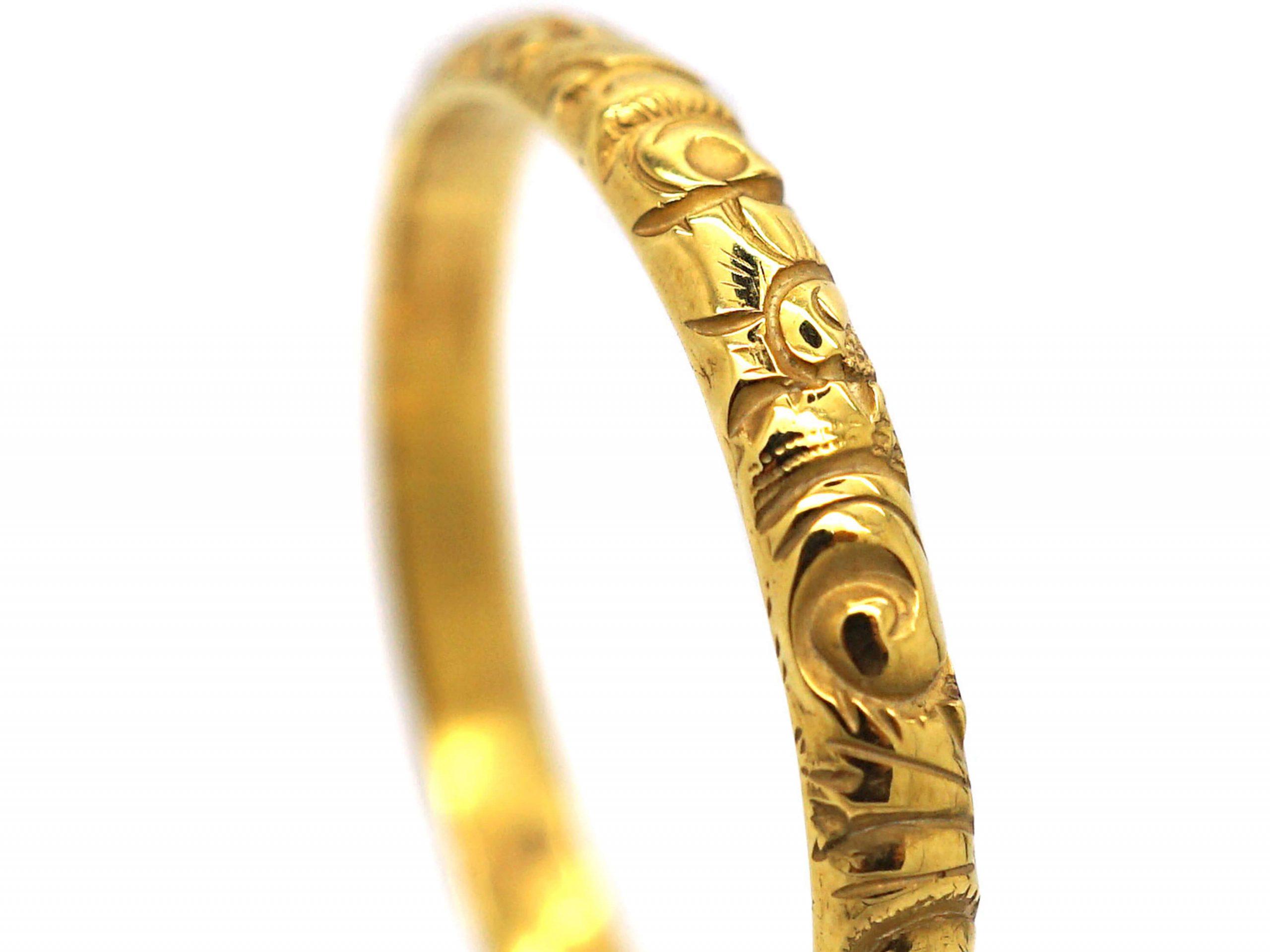 Georgian 18ct Gold Wedding Band with Repoussé Decoration