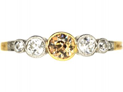 Edwardian 18ct Gold & Platinum Five Stone Diamond Ring