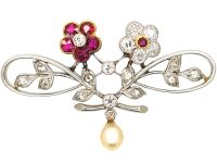 Edwardian Platinum Double Flower Brooch set with Rubies & Diamonds & a Natural Split Pearl
